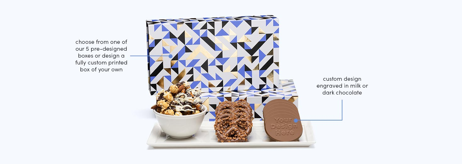 Luxury Tasting Box Cookies Popcorn Pretzels Fully Custom