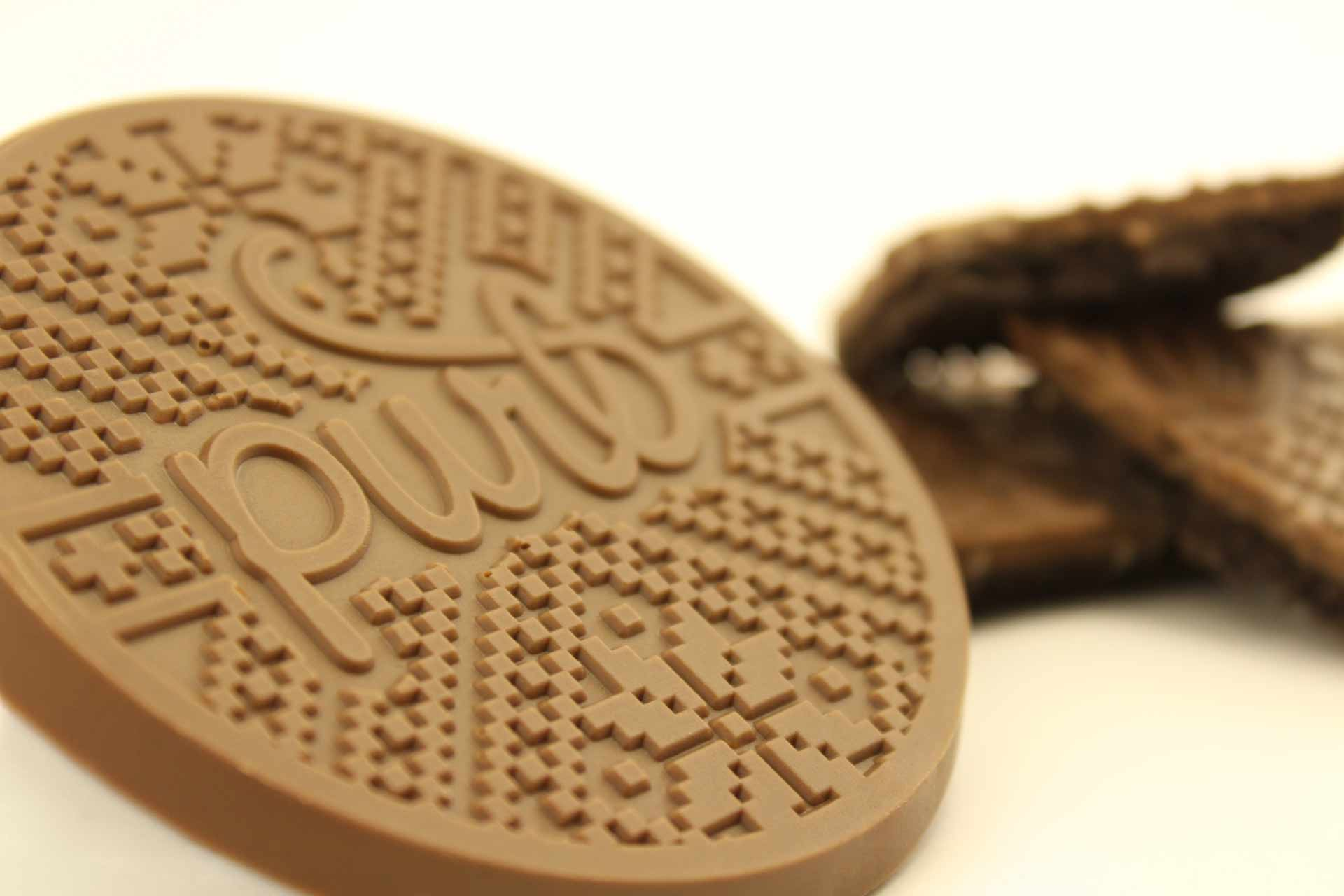 Logo on chocolate cookie