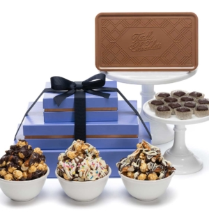 Signature Popcorn, Caramels & Chocolate Bar Luxury 3-Piece Gift Basket Tower