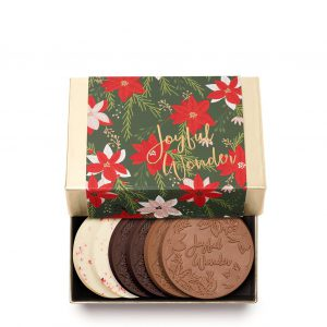 Holiday Crimson Poinsettia Christmas Chocolate Cookie Gift