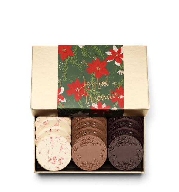 Holiday Crimson Poinsettia Christmas Chocolate Gift 12-Piece