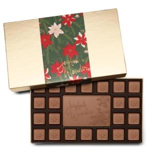 Holiday Crimson Poinsettia Christmas Chocolate Gift 23-Piece