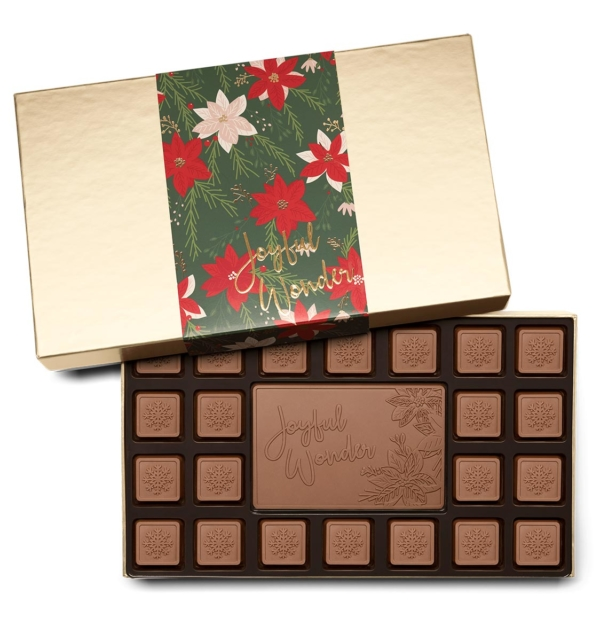 Holiday Crimson Poinsettia Christmas Chocolate Gift 23-Piece