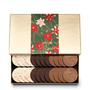 Holiday Crimson Poinsettia Christmas Chocolate Gift 24-Piece