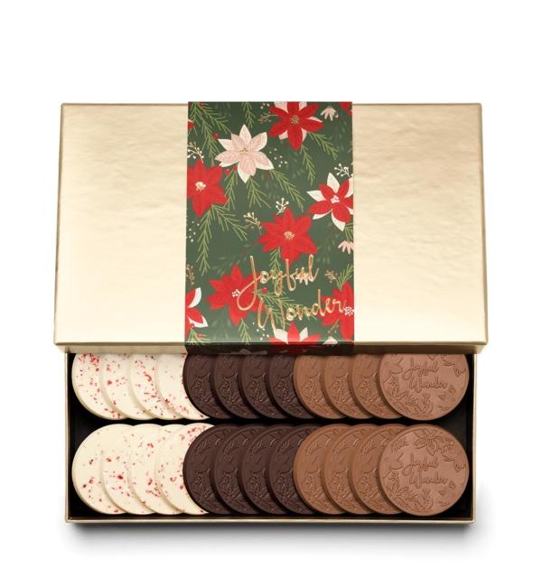 Holiday Crimson Poinsettia Christmas Chocolate Gift 24-Piece