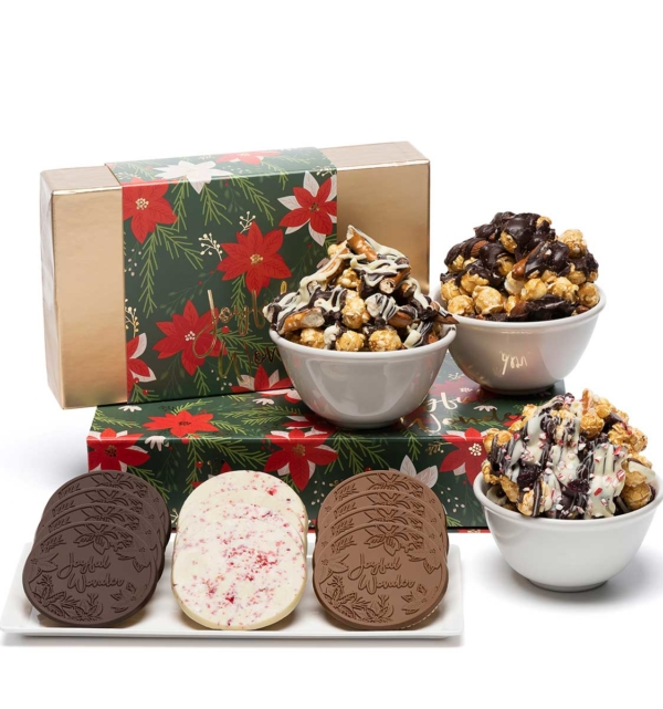 Holiday Crimson Poinsettia Popcorn Cookies Christmas Chocolate Gift