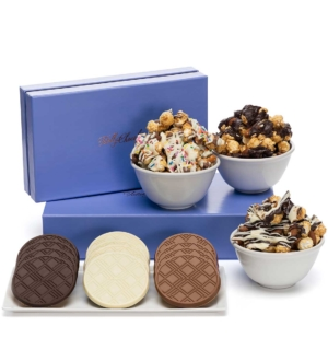 Signature Gourmet Popcorn & Cookies Luxury Tasting Box 2-Piece Gift Basket