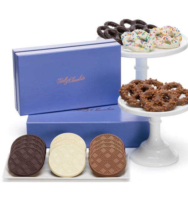 Signature Chocolate Dipped Pretzels & Cookies Luxury Tasting Box 2-Piece Gift Basket
