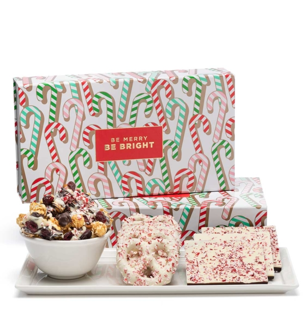 Holiday Candy Cane Popcorn Pretzels Christmas Chocolate Gift