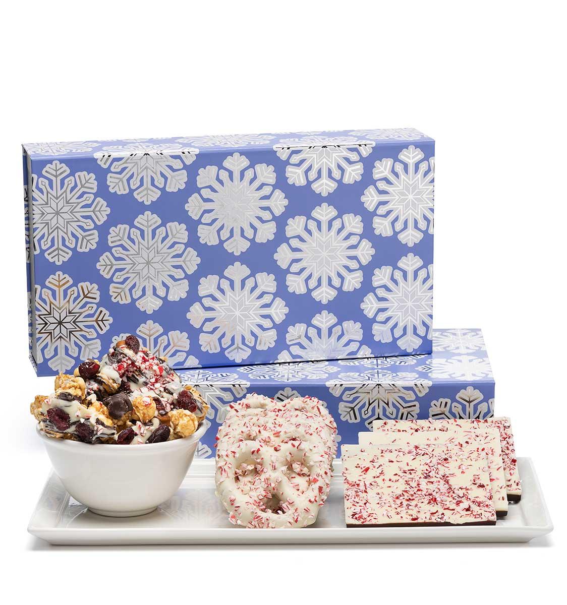 ready-gift-chocolate-SHX230766T-shimmering-snowflake-peppermint-popcorn-pretzels-bark-luxury-tasting-box-1