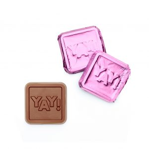 YAY Milk Chocolate Teal, Lavender & Light Blue Foiled Square