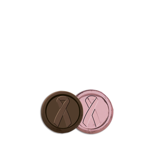 Breast Cancer Awareness Dark Chocolate Pink Foiled Coin