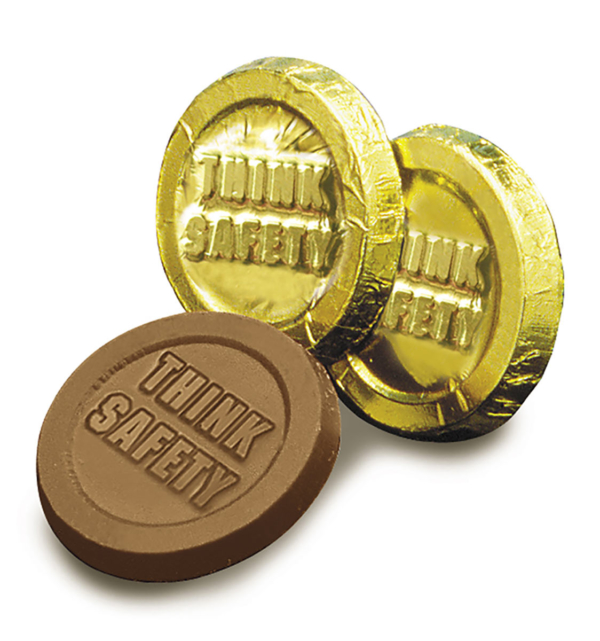 Think Safety Milk Chocolate Coin in Gold Foil Wholesale
