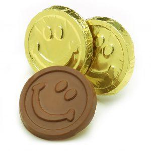 Milk Chocolate Smiley Face Coins in Gold Foil Bulk