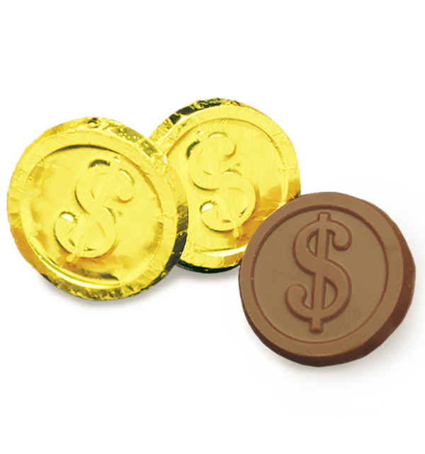 Milk Chocolate Dollar Sign Coins in Gold Foil Wholesale