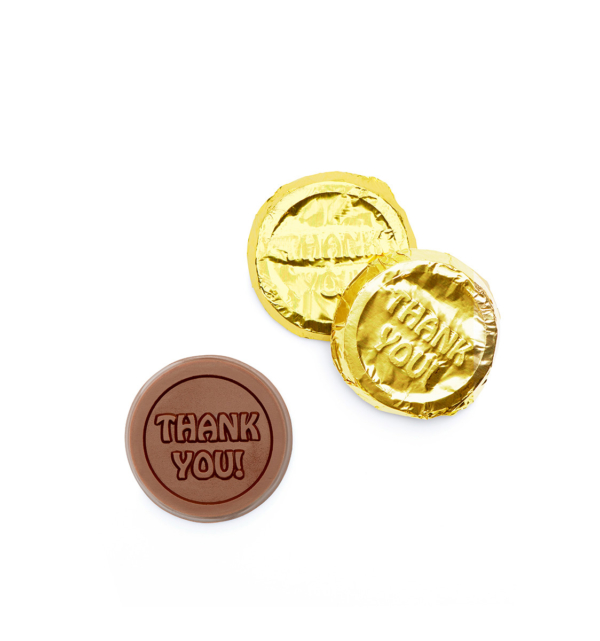 Thank You Milk Chocolate Gold Foiled Coin Wholesale