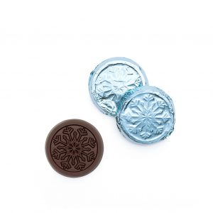 Snowflake Dark Chocolate Silver & Blue Foiled Coin Holiday Gift