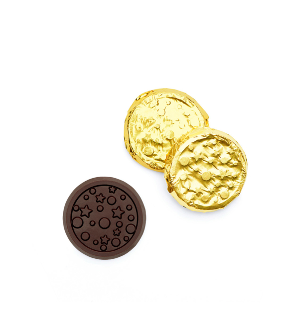 Stars and Dots Dark Chocolate Silver & Gold Foiled Coin Wholesale