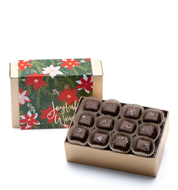 Holiday Crimson Poinsettia Christmas Chocolate Gift