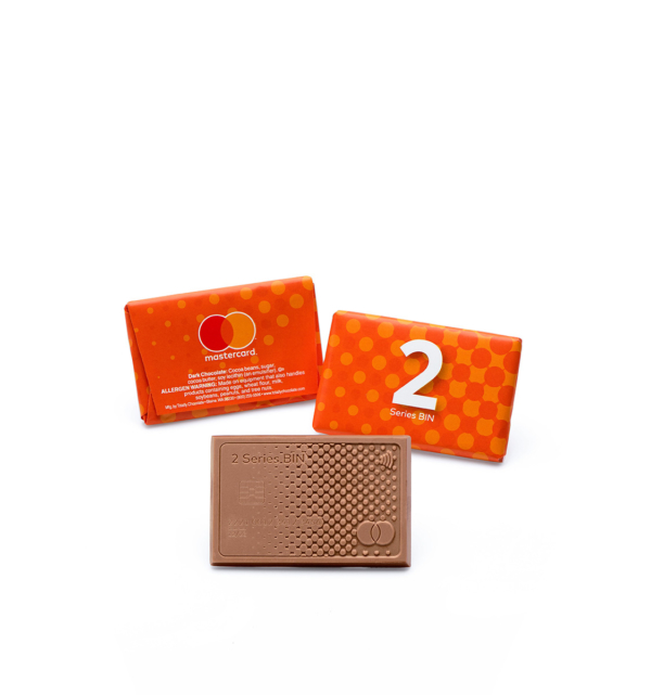 Custom junior 2x3 wrapper bar engraved belgian chocolate with logo