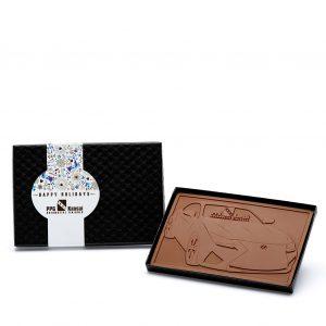 Custom petite 4x6 bar engraved belgian chocolate with logo