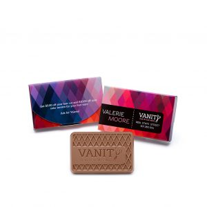Custom chocolate business card boxed engraved belgian chocolate with logo