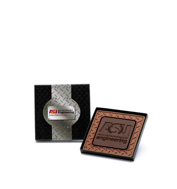 Custom mini 4x4 combo bar engraved belgian chocolate with logo
