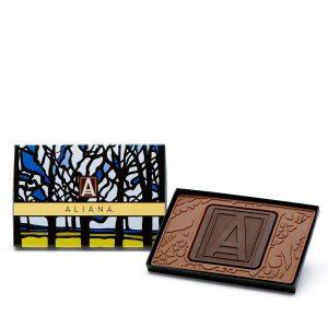 Custom petite 4x6 combo bar engraved belgian chocolate with logo