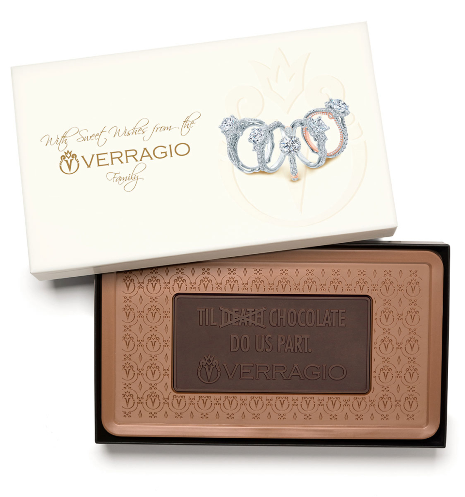 Custom indulgent combo bar engraved belgian chocolate with business logo