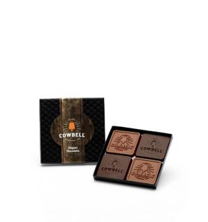 Custom mini 4 piece set engraved belgian chocolate with logo
