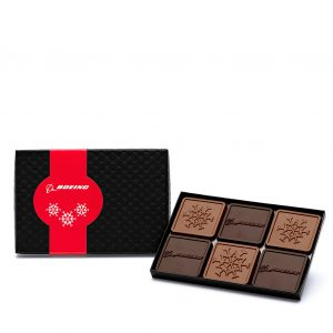 Custom mini 6 piece set engraved belgian chocolate with logo