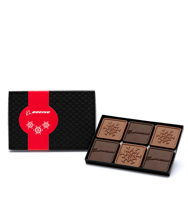 Custom mini 6 piece set engraved belgian chocolate with logo