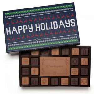 Custom 45 piece ensemble engraved belgian chocolate with logo