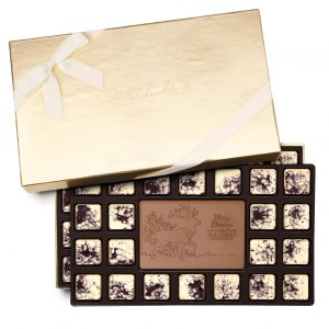 Custom 46 piece ensemble engraved belgian chocolate with logo