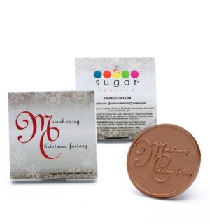 Custom 1 piece cookie printed box engraved belgian chocolate with logo