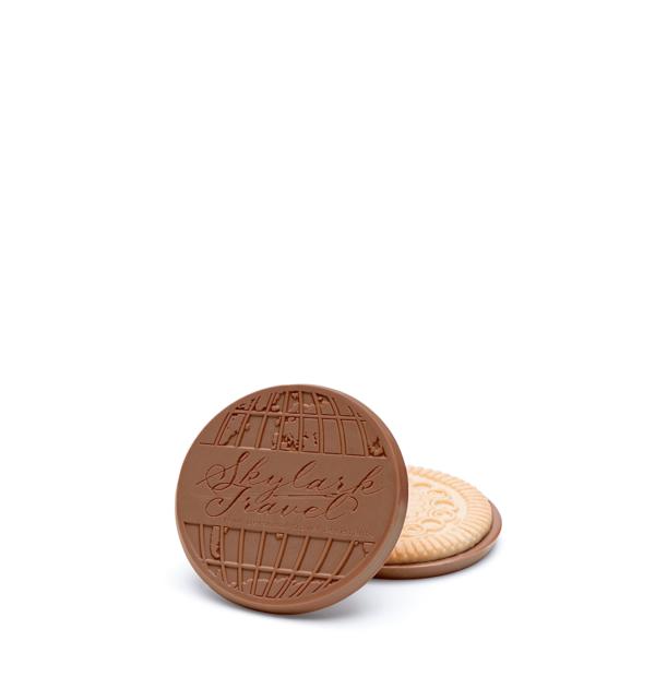 Custom individual cookie engraved belgian chocolate with logo