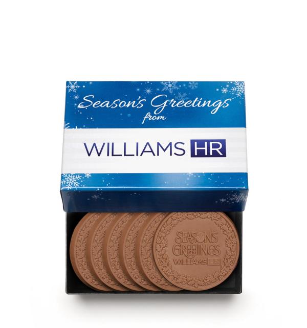 Custom 6 piece cookie set engraved belgian chocolate with logo