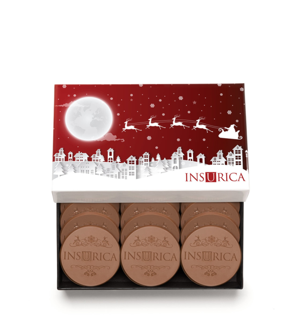 Custom 12 piece cookie set engraved belgian chocolate with logo