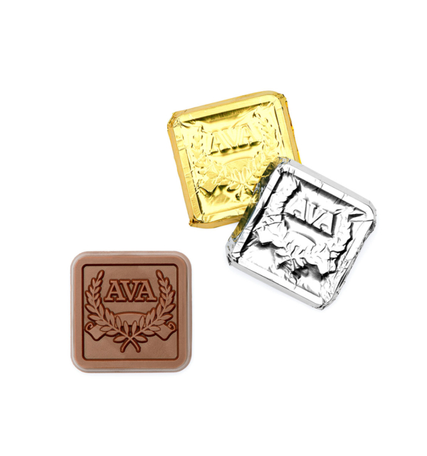 custom chocolate 5002 bite sized foil wrapped squares rollover