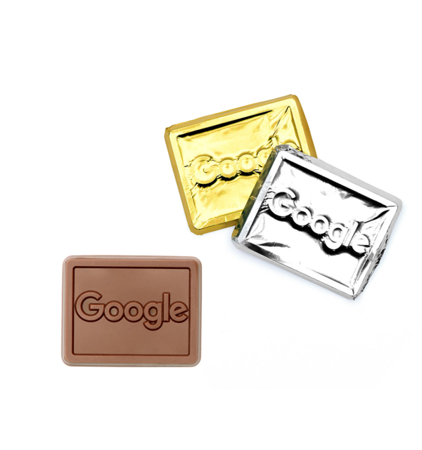 custom chocolate 5004 bite sized foil wrapped rectangles rollover
