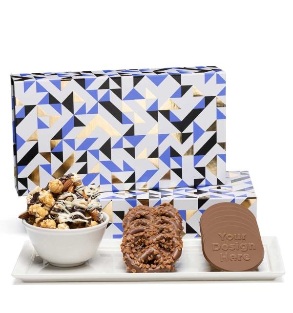 custom chocolate 8098 luxury tasting box cookies bars or popcorn pretzels custom rollover