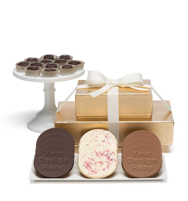 custom chocolate 8102 premium 2 piece gift tower caramels cookies custom rollover
