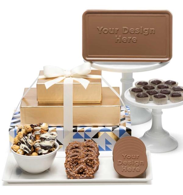 custom chocolate 8103 tasting box 3 piece gift tower caramels bar gourmet treats custom rollover
