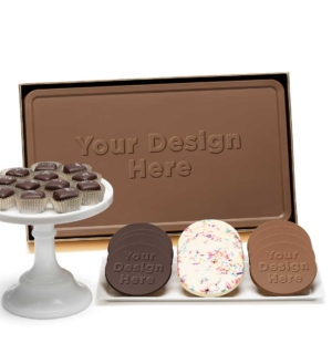 custom chocolate 8203 indulgent 3 piece gift tower caramels cookies bar custom rollover