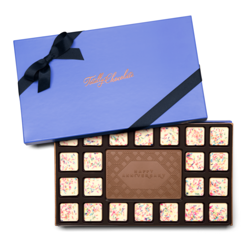 Personalized Signature Anniversary 23 Piece Ensemble with Cake & Sprinkles Border, Milk Chocolate Center Bar in Signature Blue Packaging