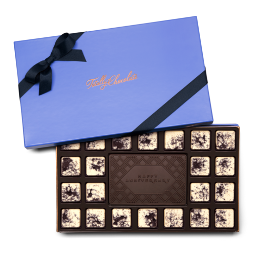 Personalized Signature Anniversary 23 Piece Ensemble with Cookies & Cream Border, Dark Chocolate Center Bar in Signature Blue Packaging