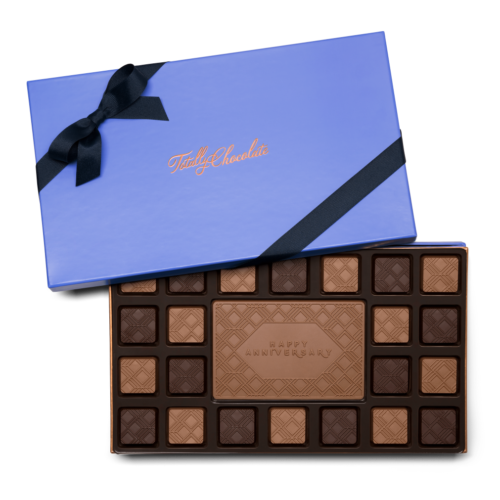 Personalized Signature Anniversary 23 Piece Ensemble with Milk & Dark Chocolate Border, Milk Chocolate Center Bar in Signature Blue Packaging