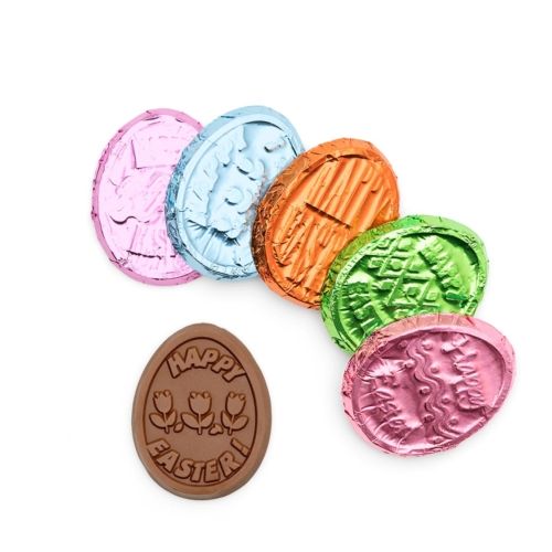 Need ideas for easter chocolate, we provide custom easter egg chocolate coins for your easter holiday