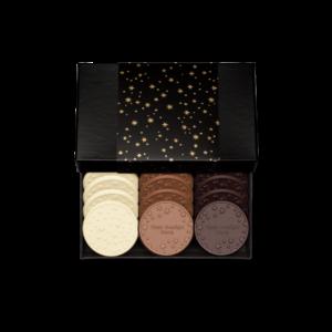 Personalized Appreciation Above & Beyond 12 Cookie Set with Cookies & Cream, Milk Chocolate, Dark Chocolate Cookies in Black Packaging