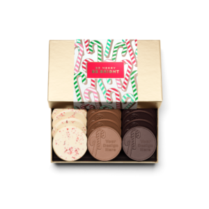 Personalized Holiday Candy Cane 12 Cookie Set with Peppermint Bark, Milk Chocolate, Dark Chocolate Cookies in Gold Packaging